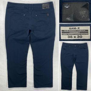 Buffalo SAM-X Mens 38 x 30 Blue Slim Straight Stretch Denim Jeans